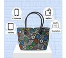 Image of 100% Genuine Leather Colourful Flowers Pattern Shoulder Bag (Size 29x10x26 Cm) - Grey
