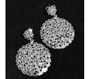 Image of GP - Polki Diamond and Blue Sapphire Earrings (with Push Back) in Platinum Overlay Sterling Silver 4.31 Ct, Silver wt 7.00 Gms