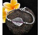 Image of Bali Legacy Collection - African Ruby (Rnd) Tulang Naga Leaf Bracelet (Size 7.5) in Sterling Silver 0.80 Ct, Silver wt 13.90 Gms