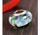 Image of Charmes De Memoire Tropical Sea Murano Glass Bead Charm in Platinum Overlay Sterling Silver