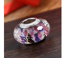 Image of Charmes De Memoire Purple, Pink, Black and White Murano Glass Bead Charm in Platinum Overlay Sterling Silver