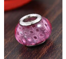 Image of Charmes De Memoire Pink Murano Glass Bead Charm in Platinum Overlay Sterling Silver