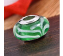 Image of Charmes De Memoire Green and White Murano Glass Bead Charm in Platinum Overlay Sterling Silver