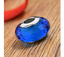 Image of Charmes De Memoire Blue Murano Glass Beads Charm in Platinum Overlay Sterling Silver