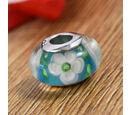 Image of Charmes De Memoire Blue, Green and White Floral Murano Glass Bead Charm in Platinum Overlay Sterling Silver