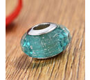 Image of Charmes De Memoire Teal Murano Glass Bead Charm in Platinum Overlay Sterling Silver