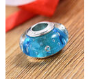 Image of Charmes De Memoire Aqua Murano Glass Bead Charm in Platinum Overlay Sterling Silver