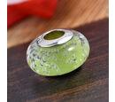 Image of Charmes De Memoire Greenish Yellow Murano Glass Bead Charm in Platinum Overlay Sterling Silver