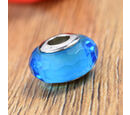 Image of Charmes De Memoire Blue and White Murano Glass Bead Charm in Platinum Overlay Sterling Silver