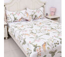 Image of 4 Piece Set - Silk Quilt with Floral Printed Cotton Cover (Size 200x200 Cm) and 2 Pillow Cases (Size 70x50 Cm) and a Cushion Cover (Size 40x40 Cm) - Double