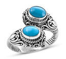 Image of Royal Bali Collection - Arizona Sleeping Beauty Turquoise (Ovl) Bypass Ring in Sterling Silver 2.50 Ct, Silver wt 8.10 Gms