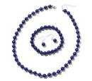 Image of 3 Piece Set - Lapis Lazuli (Rnd) Beads Necklace (Size 18), Bracelet (Size 7) and Earrings in Rhodium Overlay Sterling Silver 277.00 Ct.