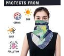 Image of 2 in 1 Flower Pattern Chiffon Soft Feel Scarf and Protective Face Mask (Size 45x45 Cm) - Blue