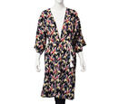 Image of Floral Pattern Long Kimono with Rope Belt (Size 60x103 Cm) - Black and Multi