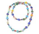 Image of Simulated Multi Colour Gemstone and Multi Colour Murano Glass Beads Necklace (Size 46)