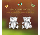 Image of Platinum Overlay Sterling Silver Teddy Bear Earrings (with Push Back)