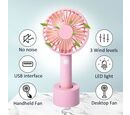 Image of Rechargeable Mini Handheld Desk Fan with Three Speed Settings (Size 10.5x22.1x4.2  Cm) - Pink