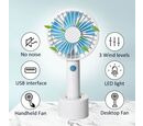 Image of Rechargeable Mini Handheld Desk Fan with Three Speed Settings (Size 10.5x22.1x4.2  Cm) - Blue and White