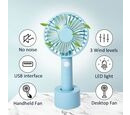 Image of Rechargeable Mini Handheld Desk Fan with Three Speed Settings (Size 10.5x22.1x4.2  Cm) - Sky Blue