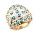 Image of Arizona Sleeping Beauty Turquoise Ring in 14K Gold Overlay Sterling Silver Ring 2.00 Ct, Silver wt 11.49 Gms