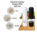 Image of Set of 2 - Gravity Pepper Mill (Size 5.3x20.5 Cm) (6xAAA Battery not Included) - Black and White