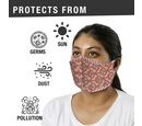 Image of Monster Deal - 2 Piece Set - 100% Cotton Hand Block Print Double Layer Reusable Face Mask - Red and White