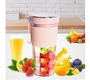 Image of Rechargeable and Portable 350 ml Juicer Blender with Three Blades - Pink