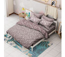Image of 3 Piece Set -  Leaf Pattern Jacquard Quilt (Size 240x260 Cm) and Two Pillow Covers (Size 50x70 Cm) - White and Purple