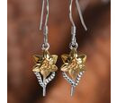 Image of Platinum and Yellow Gold Overlay Sterling Silver Floral Hook Earrings