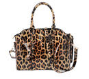 Image of Black and Brown Leopard Pattern Tote Bag with Zipper Closure and Detachable Shoulder Strap (Size32x25x13 Cm)