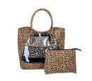 Image of 2 Piece Set - Leopard Skin Pattern Tote Bag (Size 38x32x13 cm) with Zipper Closure and Pouch Bag (Size 23x8x18cm) - Brown and Black