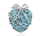 Image of GP Paraibe Apatite, Natural Cambodian Zircon and Blue Sapphire Cluster Heart Pendant in Platinum Overlay Sterling Silver 7.07 Ct, Silver wt 8.33 Gms