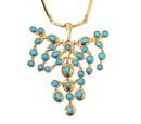 Image of Arizona Sleeping Beauty Turquoise Draping Necklace (Size 18) in 14K Gold Overlay Sterling Silver 12.00 Ct, Silver wt 29.00 Gms