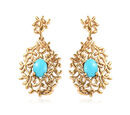 Image of Arizona Sleeping Beauty Turquoise Vine Drop Earrings (with Push Back) in 14K Gold Overlay Sterling Silver 2.00 Ct, Silver wt 5.80 Gms