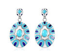 Image of Arizona Sleeping Beauty Turquoise Enamelled Earrings in Platinum Overlay Sterling Silver 2.00 Ct, Silver wt 11.00 Gms