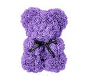 Image of Lovely Rose Flower Bear with Bow Tie - Purple