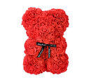Image of Lovely Rose Flower Bear with Bow Tie - Red