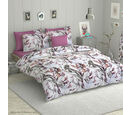 Image of OTO- 6 Piece Set - Floral Pattern Comforter, Fitted Sheet, 2 Pillow Case and 2 Envelope Pillow Case (Size Double) - Pink, White, Mauve and Multi