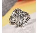 Image of Designer Inspired- Diamond Ring in Platinum Overlay Sterling Silver Ring 0.310 Ct.