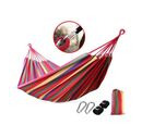 Image of Indoor Outdoor Colourful Striped Camping Hammock (Size 1.85x80 Cm) - Red