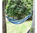 Image of Indoor Outdoor Colourful Striped Camping Hammock (Size 1.85x80 Cm) - Blue