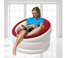 Image of Deluxe Inflatable Armchair with Backrest (Size: 85x82x60cm) - Red and White