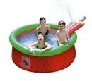 Image of Inflatable Watermelon Kids Swimming Pool with Spray (Size: 1.75x62cm) - Red and Green