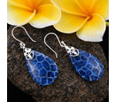 Image of Royal Bali Collection - Blue Sponge Coral Drop Hook Earrings in Sterling Silver