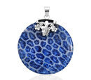 Image of Royal Bali Collection - Blue Sponge Coral Round Pendant in Sterling Silver