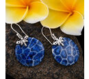 Image of Royal Bali Collection - Blue Sponge Coral Hook Earrings in Sterling Silver