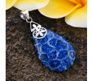 Image of Royal Bali Collection - Blue Sponge Coral Drop Pendant in Sterling Silver