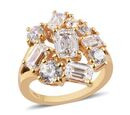 Image of J Francis 14K Gold Overlay Sterling Silver Made with SWAROVSKI ZIRCONIA Cluster Ring 7.34 Ct.