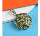 Image of Hebei Peridot and Natural Cambodian Zircon Pendant in Platinum Overlay Sterling Silver 2.50 Ct.