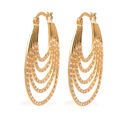 Image of ELANZA Simulated Diamond Multilayer Hoop Earrings in Yellow Gold Overlay Sterling Silver 3.84 Ct.